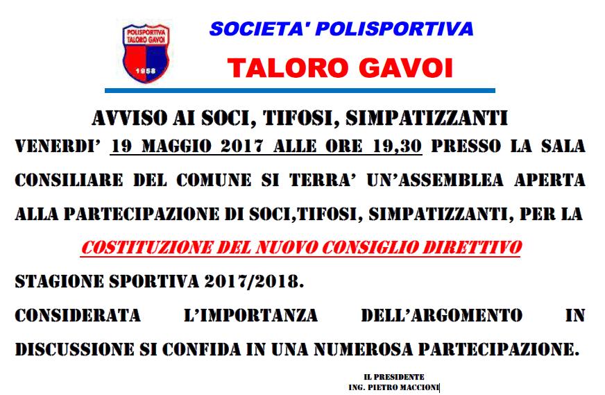ASSEMBLEA DEI SOCI DEL TALORO GAVOI VENERDI 19 MAGGIO