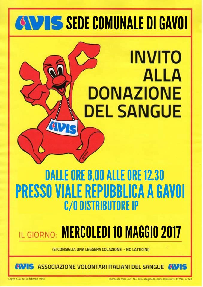 MERCOLEDI 10 MAGGIO DONAZIONE DEL SANGUE A GAVOI