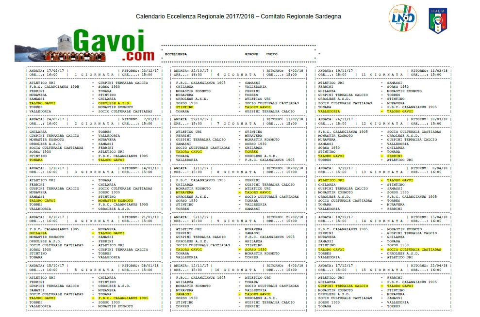 Calendario Eccellenza.Il Calendario Di Eccellenza Del Taloro Gavoi