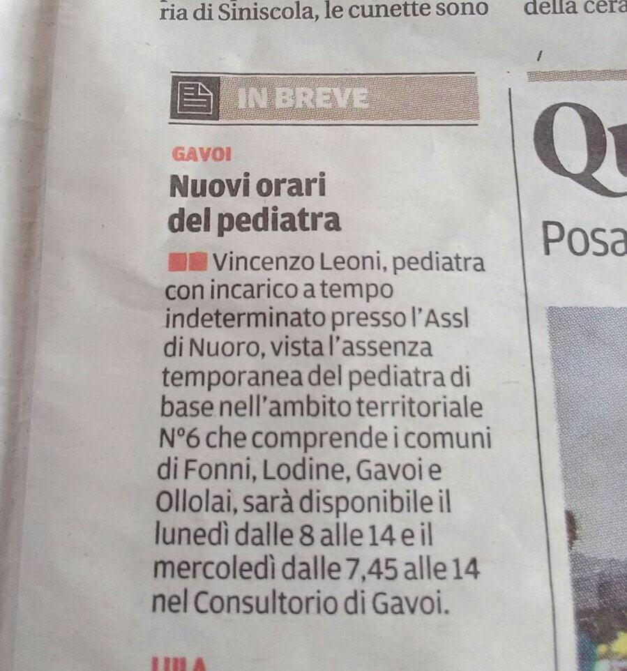 AVVIO SERVIZIO PEDIATRICO PRESSO POLIAMBULATORIO DI GAVOI