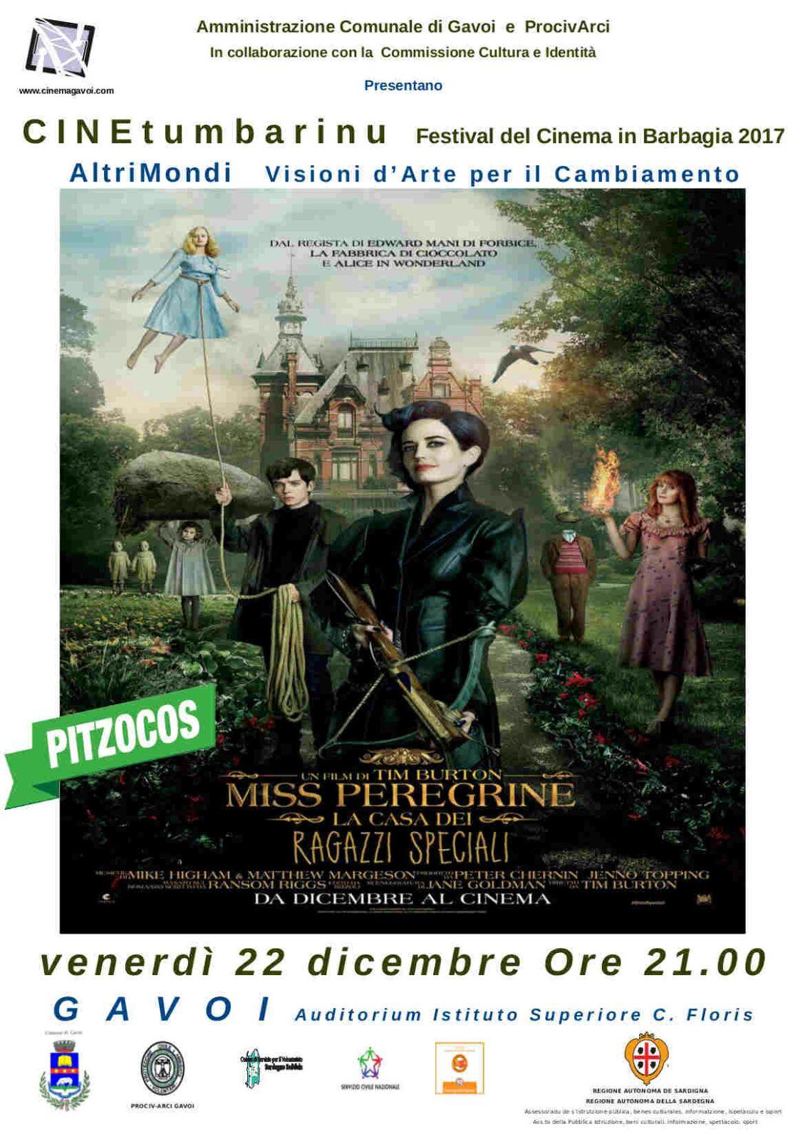 """VENERDI 22 IL FILM PER I BAMBINI A GAVOI """"Miss Peregrin – la casa dei ragazzi speciali"""""""
