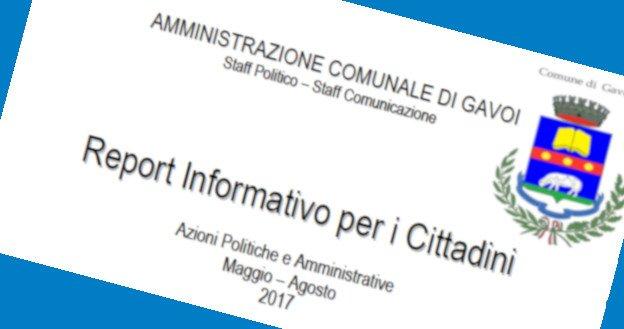 IL REPORT INFORMATIVO DELLA AMMINISTRAZIONE COMUNALE DI GAVOI