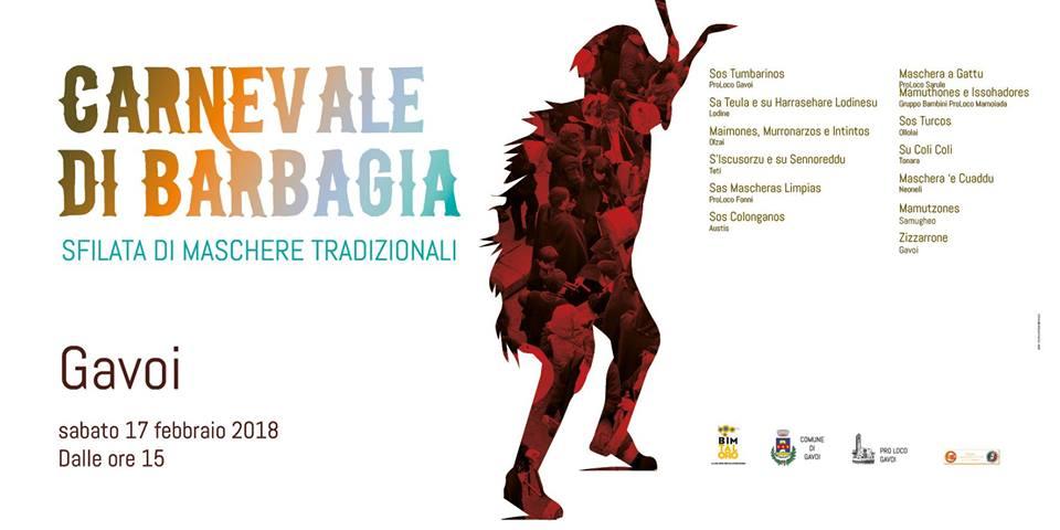 """""""CARNEVALE DI BARBAGIA"""" SABATO 17 FEBBRAIO 2018 A GAVOI"""