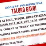 """ASSEMBLEA DEL TALORO GAVOI """"COSTITUZIONE DEL NUOVO DIRETTIVO"""""""