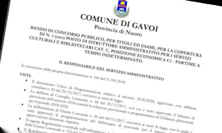 BANDO DI CONCORSO PUBBLICO – PARTIME A TEMPO INDETERMINATO A GAVOI