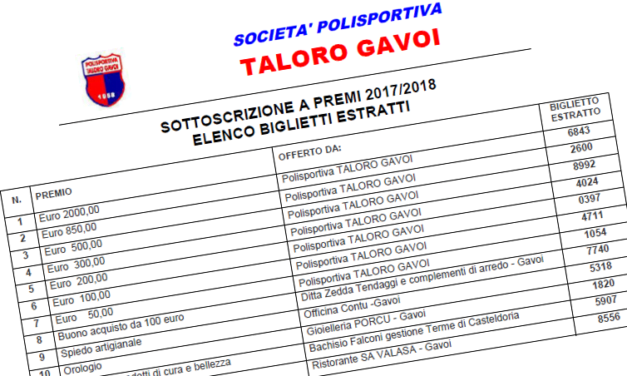 LOTTERIA A PREMI 2017/2018 DEL TALORO GAVOI