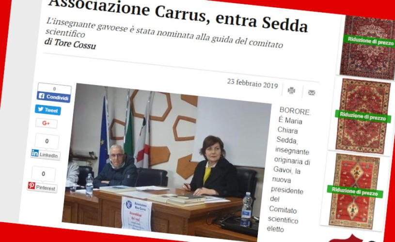 Associazione Carrus, entra Chiara Sedda