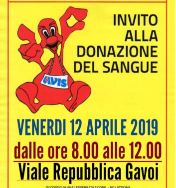 VENERDI 12 APRILE APPUNTAMENTO CON LA DONAZIONE DEL SANGUE