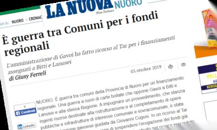 IL COMUNE DI GAVOI FA RICORSO AL TAR