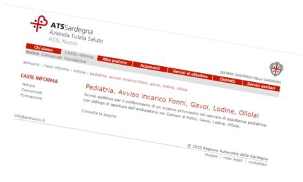 Avviso incarico provvisorio di Pediatria di Libera Scelta – Fonni, Gavoi, Lodine, Ollolai