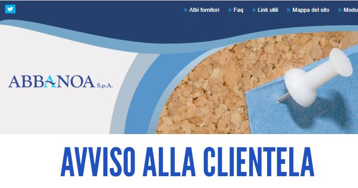 COMUNICATO DI ABBANOA AVVISO ALLA CLIENTELA