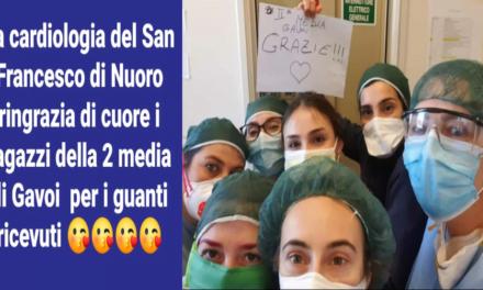 LA 2ª CLASSE DELLA SCUOLA MEDIA DI GAVOI DONA I GUANTI AL SAN FRANCESCO DI NUORO