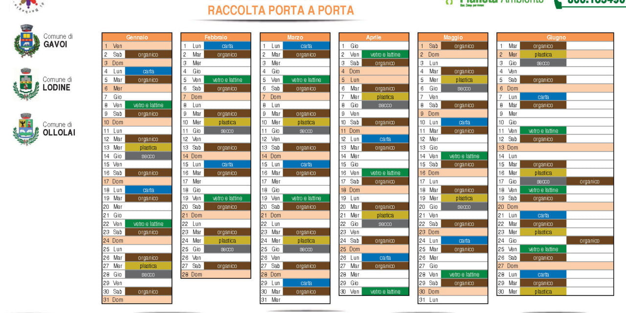 IL NUOVO CALENDARIO 2021 DELLA RACCOLTA PORTA A PORTA A GAVOI
